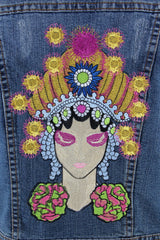 Embroidered Denim Vest Jacket / Fortune Teller Gypsy Embroidery Outerwear ThisBlueBird