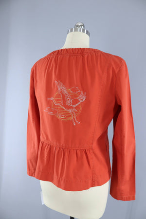 Embroidered Jacket / Flying Crane Floral Embroidery / Rust Orange Modern Vintage - Outerwear ThisBlueBird