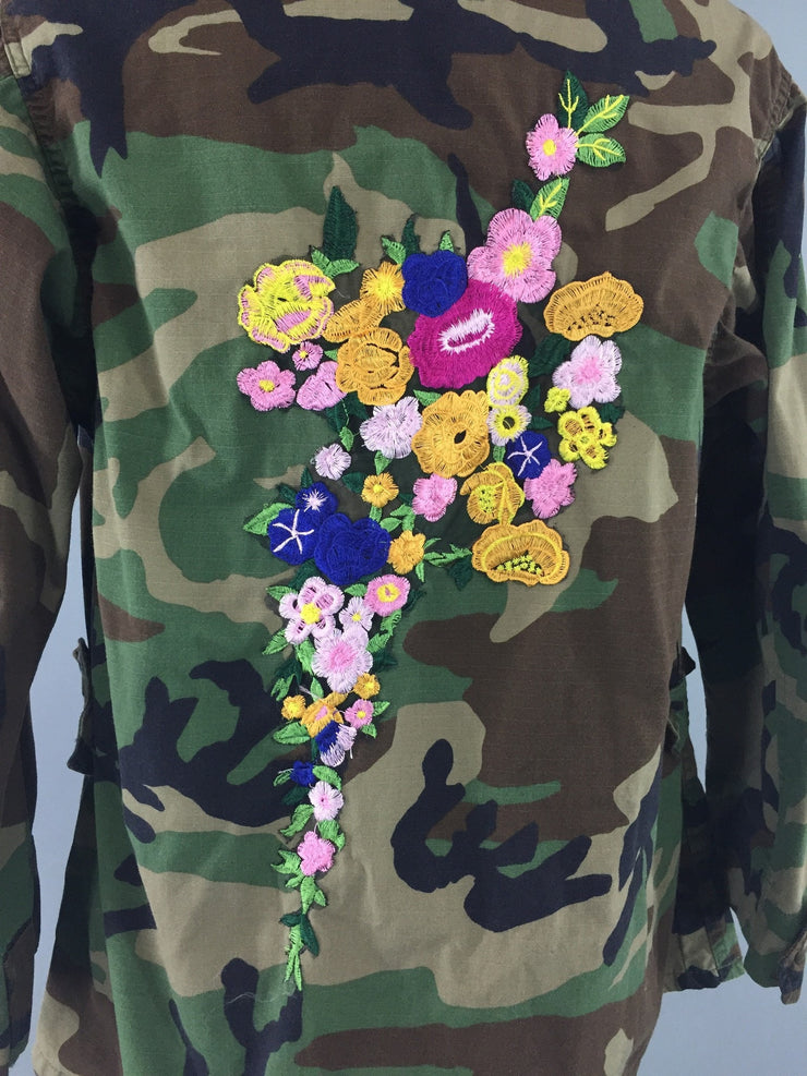 Embroidered US Army Camouflage Jacket / Military Style Coat with Floral Embroidery Outerwear ThisBlueBird