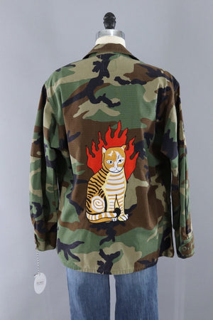 Flaming Cat Embroiderd Camouflage Jacket - ThisBlueBird