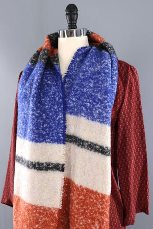 Fuzzy Fringed Shawl / Blue & Orange Stripes-ThisBlueBird - Modern Vintage