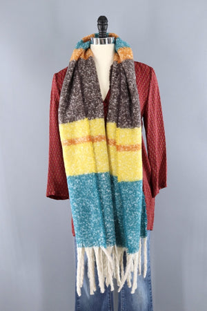 Fuzzy Wrap Shawl / Green & Yellow Stripes-ThisBlueBird - Modern Vintage