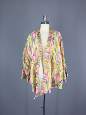 Gold Sequined Silk Kimono Jacket made from a Vintage Indian Sari - ThisBlueBird