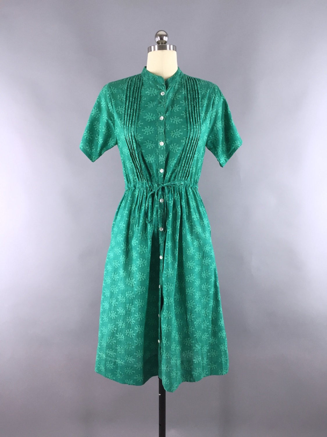 Green Block Print Indian Cotton Dress Sari Dress ThisBlueBird