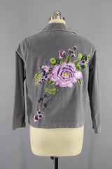 Grey Velvet Embroidered Jacket with Lavender Purple Floral Embroidery Outerwear ThisBlueBird