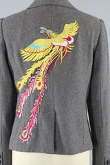 Grey Wool Women's Jacket with PHOENIX Embroidery Outerwear ThisBlueBird