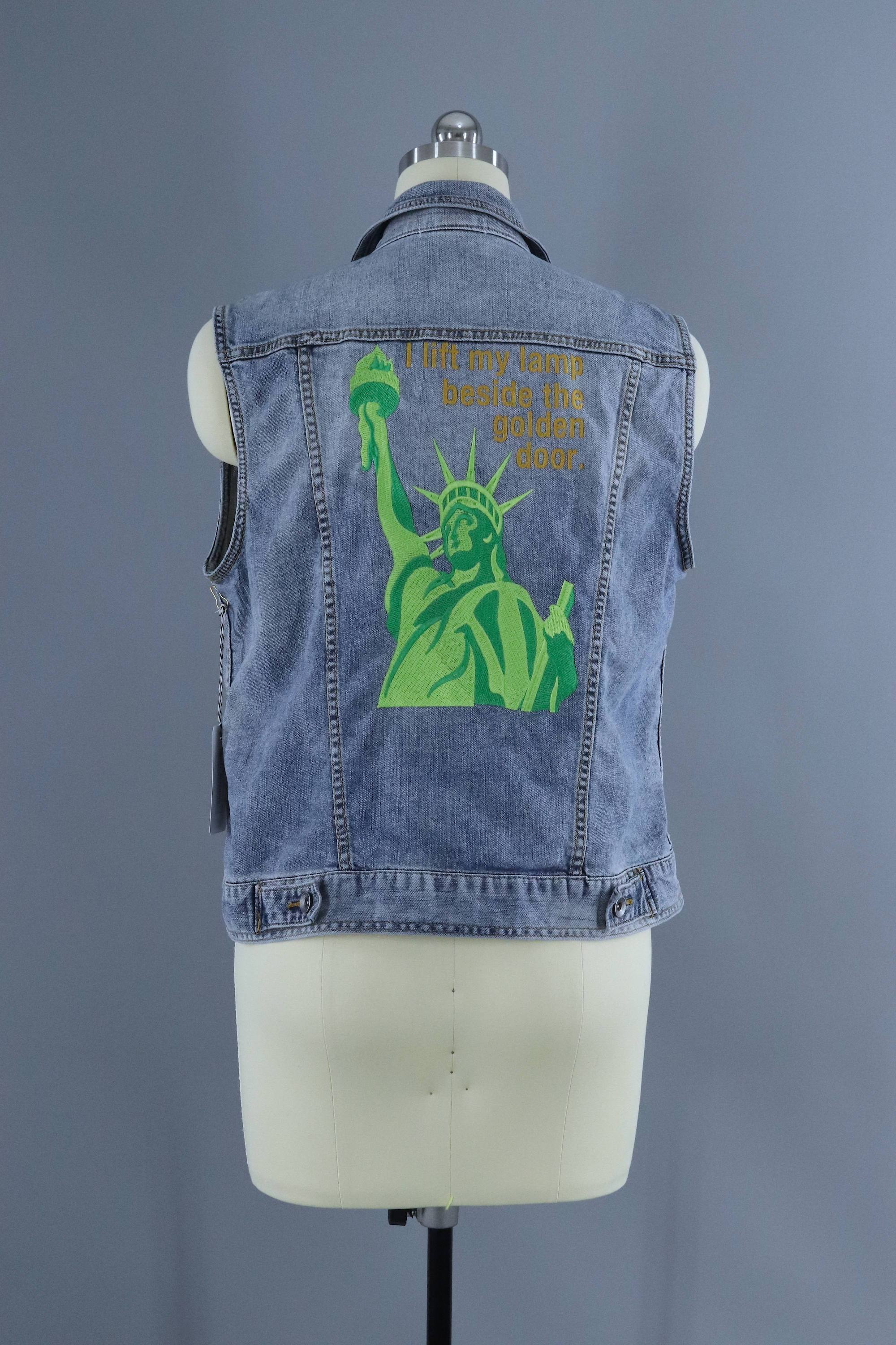 Captivating Lady Liberty Embroidered Denim Vest Jacket / I Lift My Lamp Beside The Golden  Door
