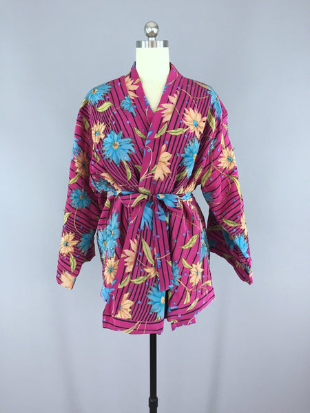 Magenta Striped Floral Print Silk Kimono Cardigan made from a Vintage Indian Sari