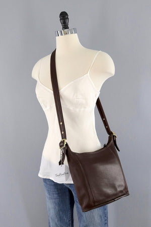 Mahogany Brown Leather Coach Medium Slim Duffle Bag-ThisBlueBird - Modern Vintage