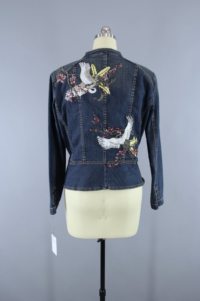 Military Style Denim Peplum Jacket with Asian Cranes Birds Embroidered Patch Outerwear ThisBlueBird
