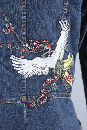 Military Style Denim Peplum Jacket with Asian Cranes Birds Embroidered Patch - ThisBlueBird