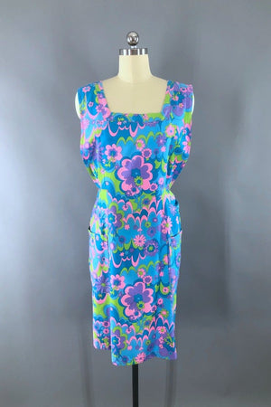 Mod Blue Floral Print Cotton Smock Apron-ThisBlueBird - Modern Vintage