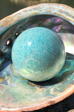 Natural Green Amazonite Crystal Ball-ThisBlueBird - Modern Vintage
