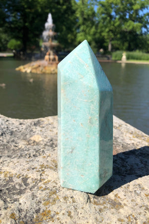 Natural Green Amazonite Crystal Point Tower-ThisBlueBird - Modern Vintage