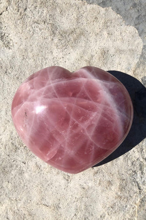 Natural Pink Rose Quartz Large Puffy Heart-ThisBlueBird - Modern Vintage
