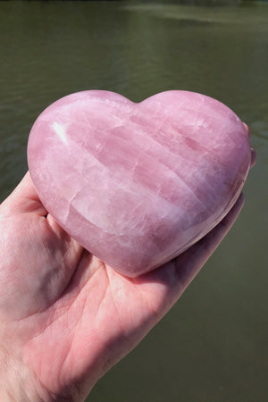Natural Pink Rose Quartz Stone Heart-ThisBlueBird - Modern Vintage