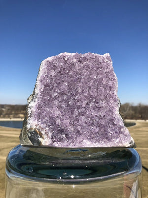 Natural Purple Amethyst Druzy Cluster with Cut Base - ThisBlueBird