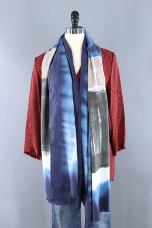 Pashmina Scarf / Blue and Grey Ombre-ThisBlueBird - Modern Vintage