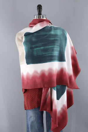 Pashmina Scarf / Dark Red & Green Ombre-ThisBlueBird - Modern Vintage