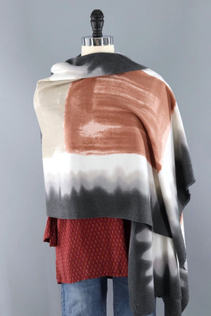 Pashmina Scarf / Terra Cotta and Grey Ombre-ThisBlueBird - Modern Vintage