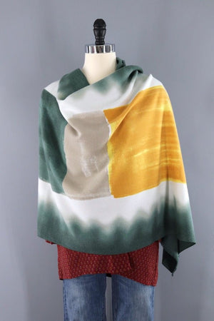 Pashmina Scarf Wrap / Mustard Yellow & Green Ombre-ThisBlueBird - Modern Vintage