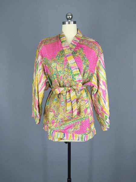 Pink and Gold Embroidered Silk Kimono Jacket made from a Vintage Indian Sari