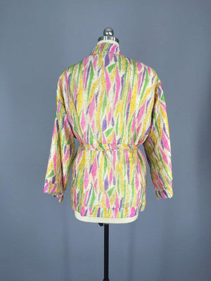 Pink and Gold Embroidered Silk Kimono Jacket made from a Vintage Indian Sari - ThisBlueBird