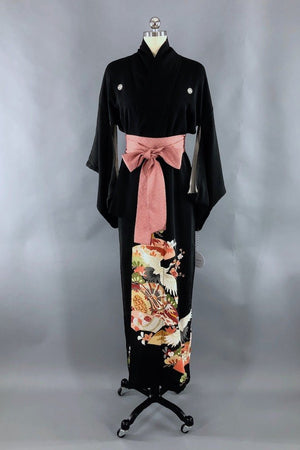 PREVIEW - Antique Black & Peach Cranes Silk Kimono Robe-ThisBlueBird - Modern Vintage