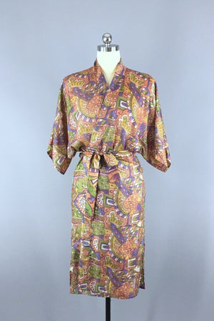 Raw Silk Sari Robe / Tan & Purple Abstract Print - ThisBlueBird