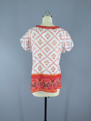 Red and White Ikat Indian Cotton T-Shirt made from a Vintage Indian Sari Sari Tops ThisBlueBird