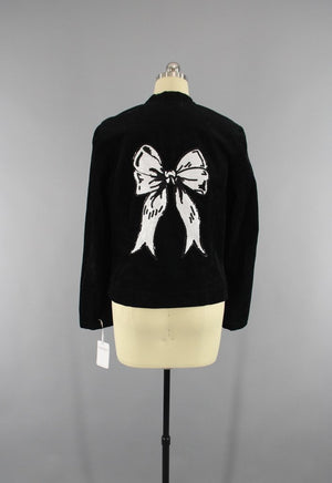Sequined Corduroy Jacket with Black & White Sequined Bow Embroidery - ThisBlueBird