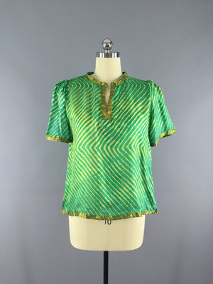 Silk Blouse T-Shirt / Vintage Indian Sari / Size Medium - ThisBlueBird