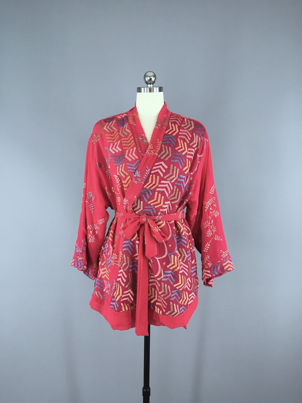 Silk Chiffon Kimono Cardigan made from a Vintage Indian Sari with Red Chevron Embroidery Sari Kimono ThisBlueBird