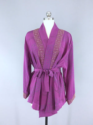 Silk Kimono Cardigan / Vintage Indian Sari / Purple French Knot Paisley - ThisBlueBird