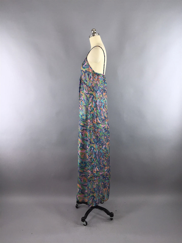 Silk Maxi Dress / Vintage Indian Silk Sari / Blue Abstract Print / XS TALL Sari Dress ThisBlueBird