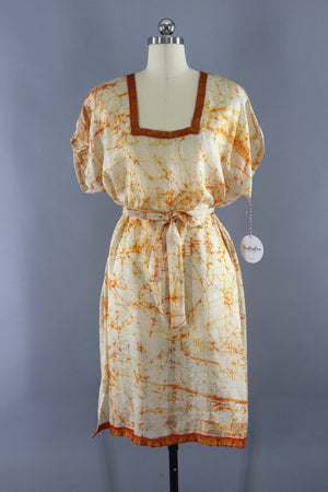 Silk Sari Kaftan Dress / Orange Tie Dye-ThisBlueBird - Modern Vintage
