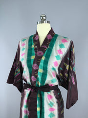 Silk Sari Robe / Green & Brown Ikat Sari Robe ThisBlueBird