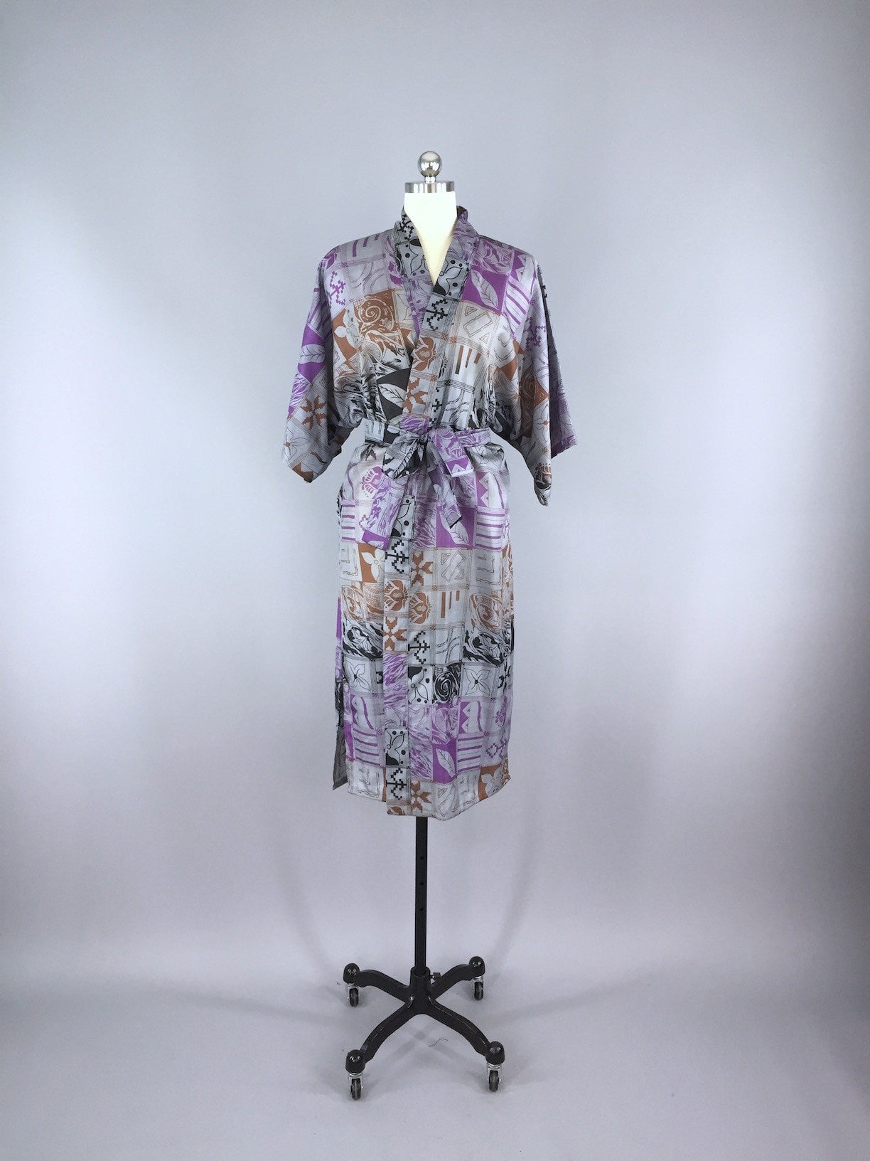 Silk Sari Robe / Grey & Purple Abstract Floral Print Sari Robe ThisBlueBird