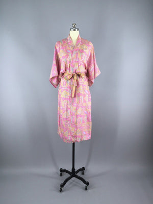 Silk Sari Robe / Pink Abstract Print - ThisBlueBird
