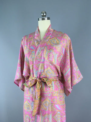 Silk Sari Robe / Pink Abstract Print Sari Robe ThisBlueBird