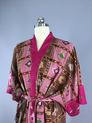 Silk Sari Robe / Pink & Brown Ikat Birds Sari Robe ThisBlueBird