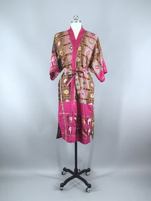 Silk Sari Robe / Pink & Brown Ikat Birds - ThisBlueBird