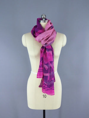 Silk Sari Scarf Shawl Wrap / Ombre Pink Floral - ThisBlueBird
