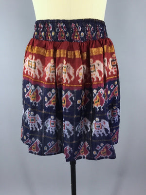 Silk Skirt - Vintage Indian Sari - Blue Elephant Print - Size Large to XL Sari Skirt ThisBlueBird