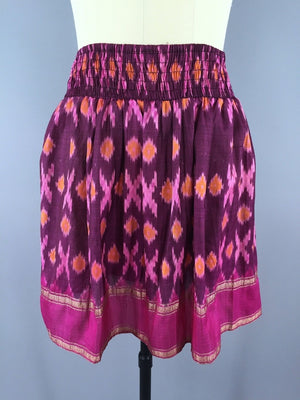 Silk Skirt / Vintage Indian Sari / Bohemian Pink IKAT Print - Size Large to XL - ThisBlueBird