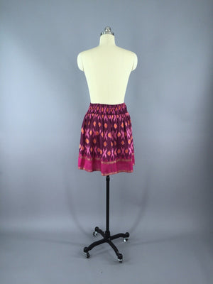 Silk Skirt / Vintage Indian Sari / Pink IKAT Print - Size Small to Medium - ThisBlueBird