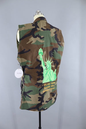 Statue of Liberty Embroidered Camo US Army Vest / I Lift My Lamp Beside the Golden Door / #Resist Modern Vintage - Outerwear ThisBlueBird