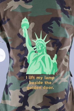 Statue of Liberty Embroidered Camo US Army Vest / I Lift My Lamp Beside the Golden Door / #Resist - ThisBlueBird