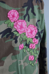 US Army Camouflage Jacket with Pink Floral Embroidery Patch Outerwear ThisBlueBird