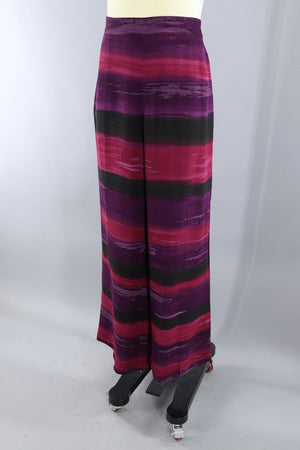 Vinage Gianfranco Ferre Palazzo Pants / Purple Watercolor Stripes-ThisBlueBird - Modern Vintage